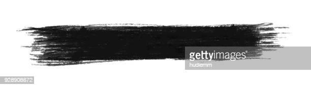 illustrazioni stock, clip art, cartoni animati e icone di tendenza di striscia di inchiostro a tratto pennello nero vettoriale isolata - sbavatura