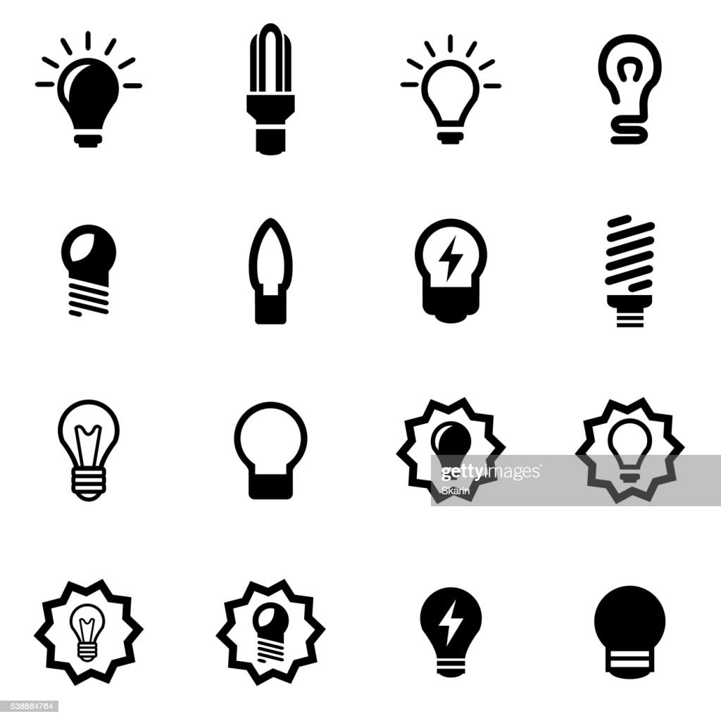 Vector black bulbs icon set