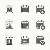 Vector Black Calendar Icons