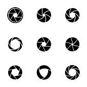 Vector black camera shutter icons set