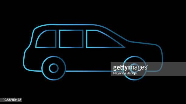 vector black car line icon - hatchback stock illustrations, clip art, cartoons, & icons