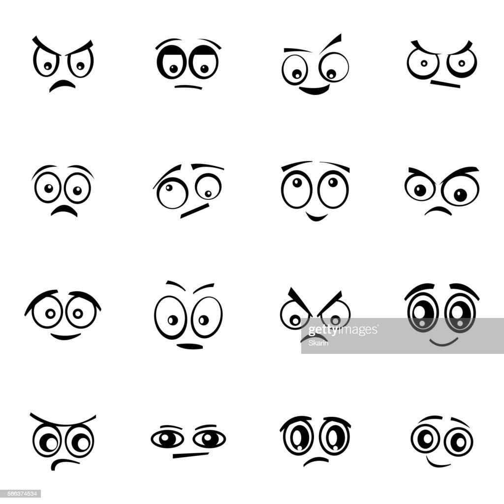 Vector black  cartoon  eyes  set