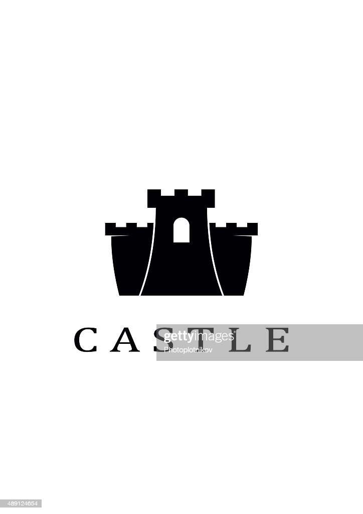 Vector black castle icon on white background.