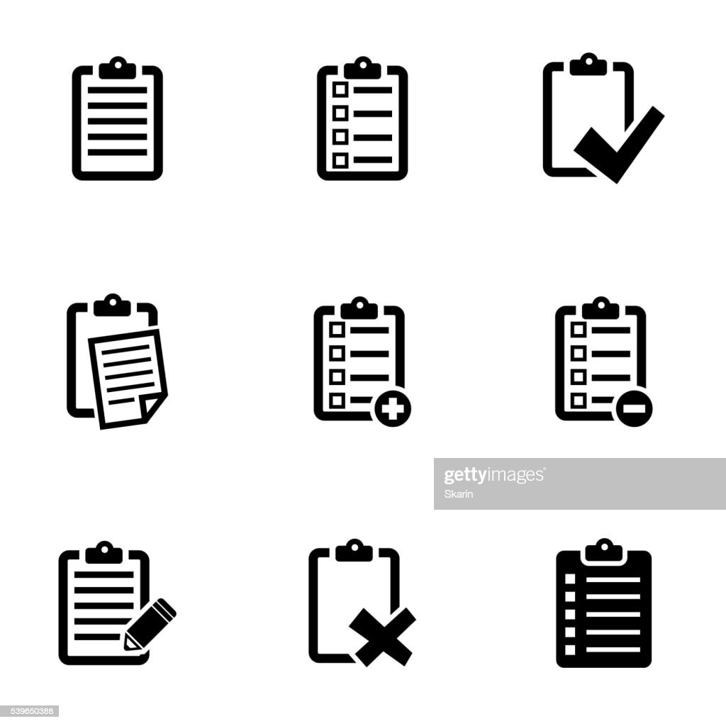 Vector black check list icon set