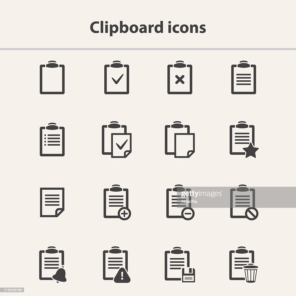 Vector black Clipboard icons set