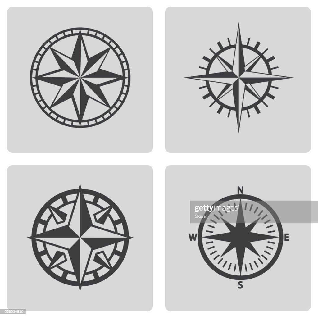 Vector black compass icons set