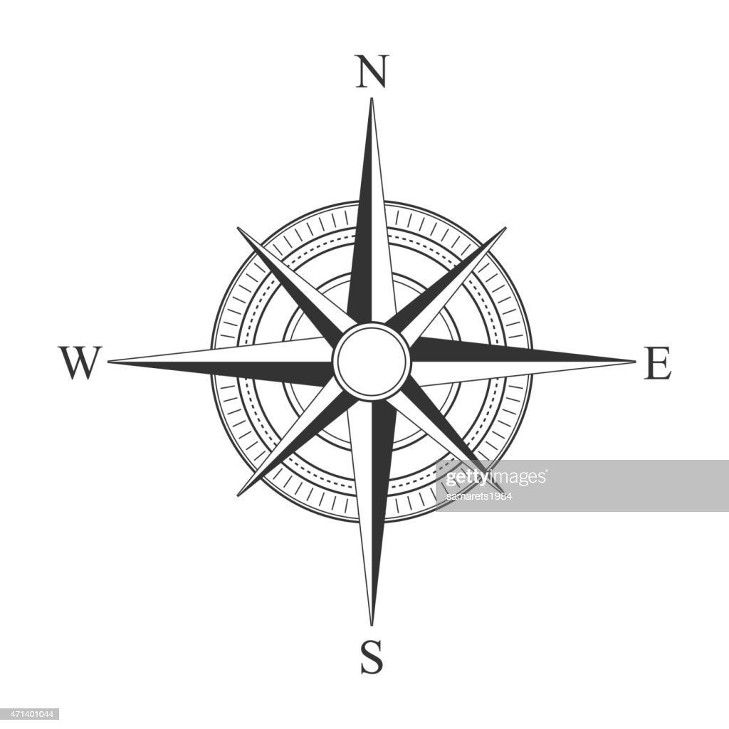 Vector black compass icons.