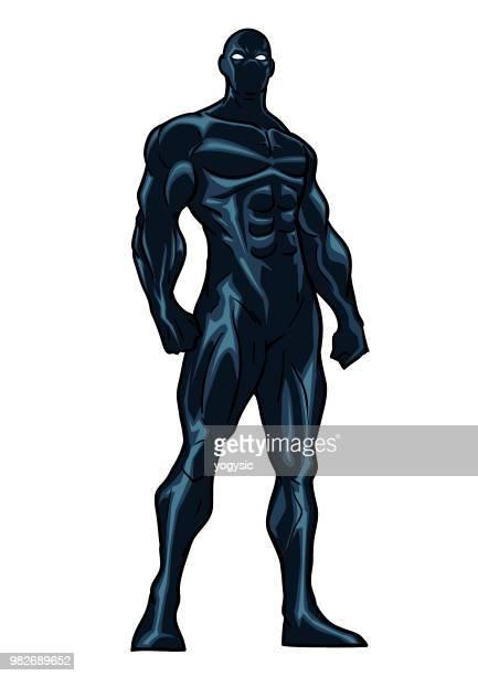 Vector Black Costume Superhero Illustration