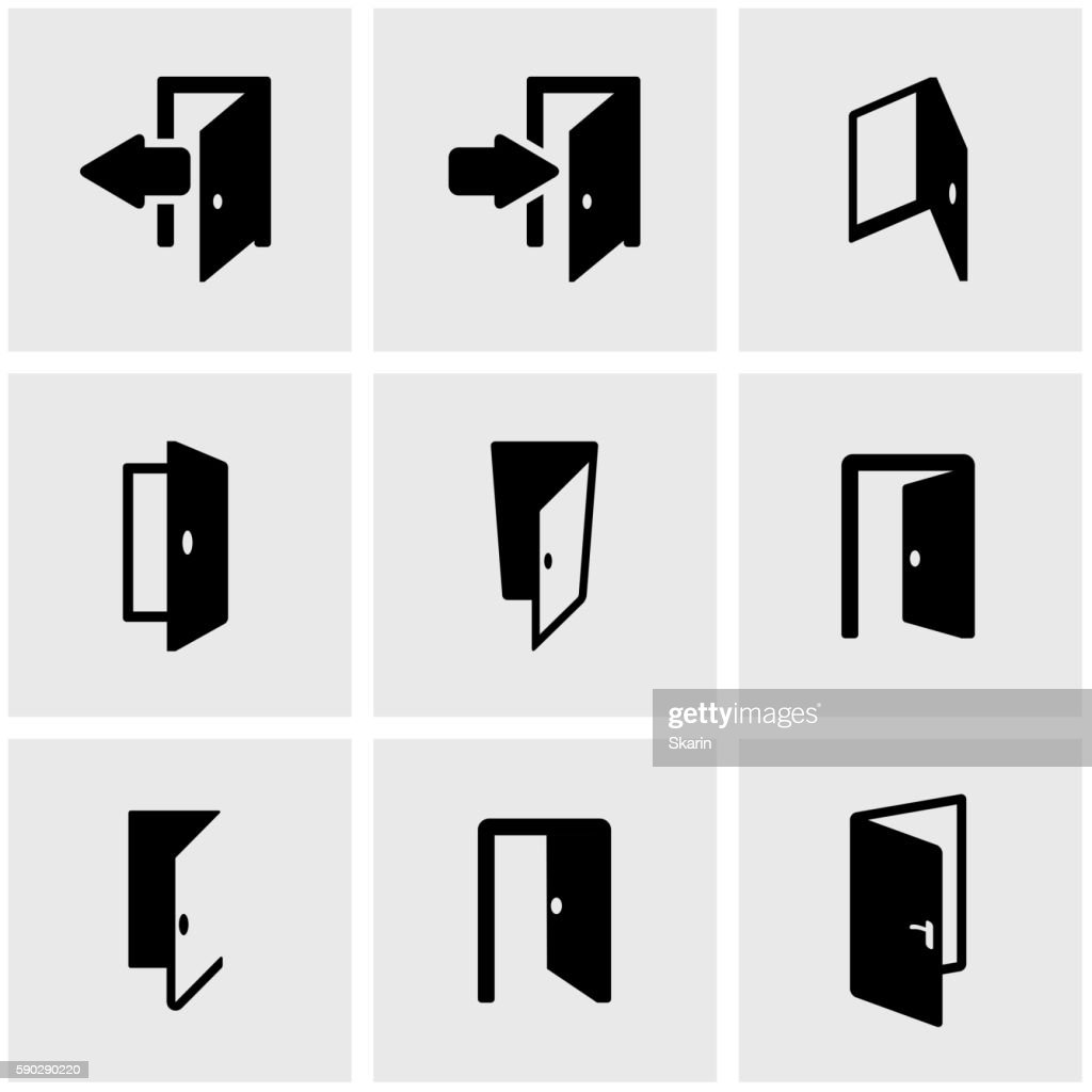 Vector black door icon set