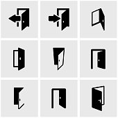 Vector black door icon set