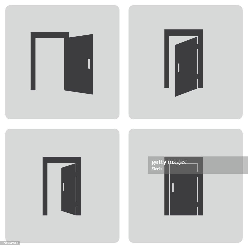 open and closed door clipart. Door Icon; Vector Black Icons Set Open And Closed Clipart U