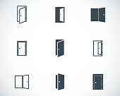 Vector black door icons set
