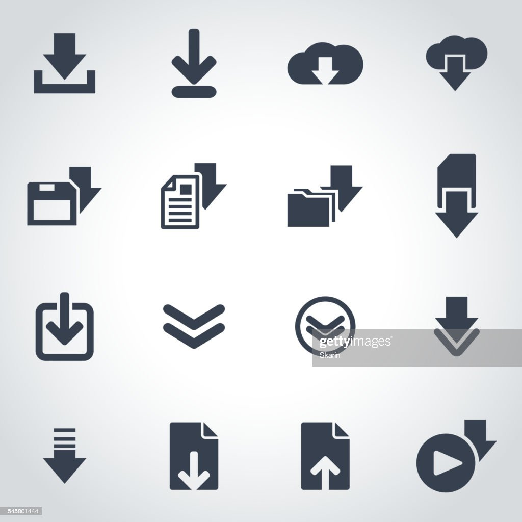 Vector black download  icon set