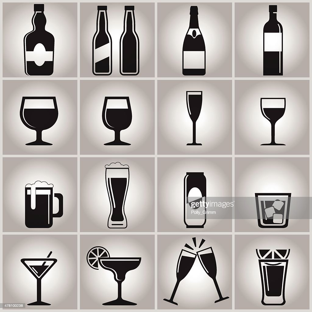Vector black drinks and beverages icons set