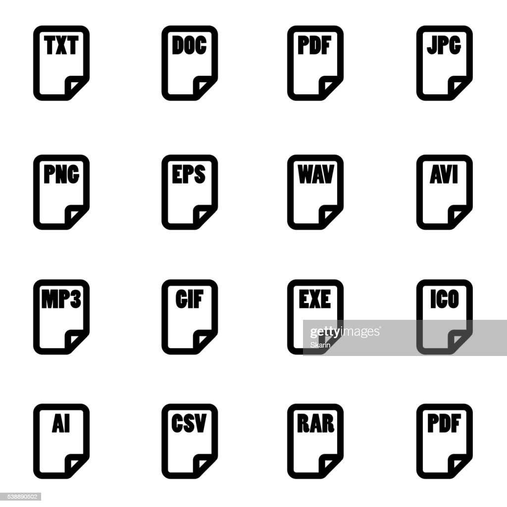 Vector black file type icon set
