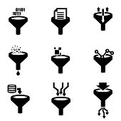 Vector black filter data icon set