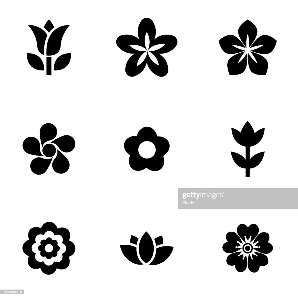 Vector black flowers icon set
