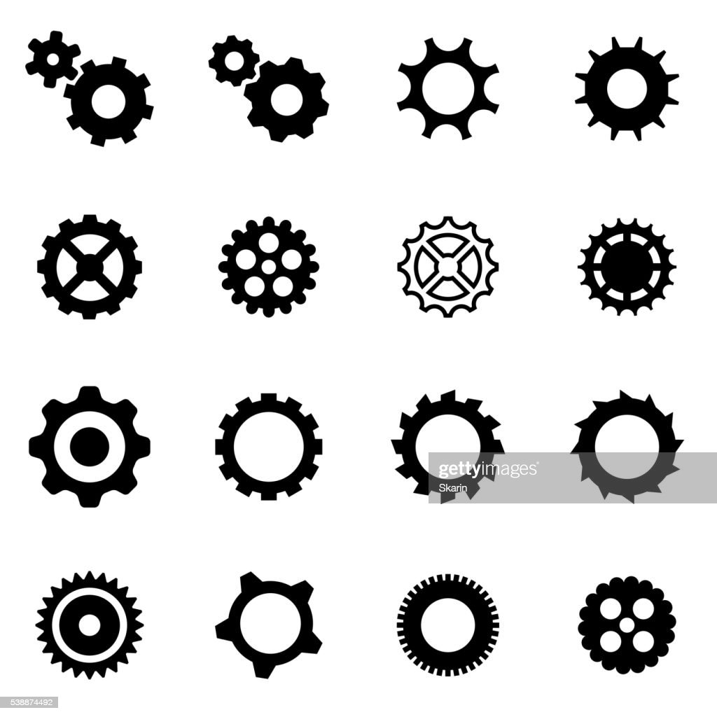 Vector black gear icon set