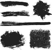 Vector Black Grunge Brushes Set 2