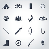 Vector black hunting icon set