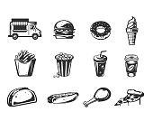 Vector black icons - car fast delivery of food or food truck, set of icons of various fast food products