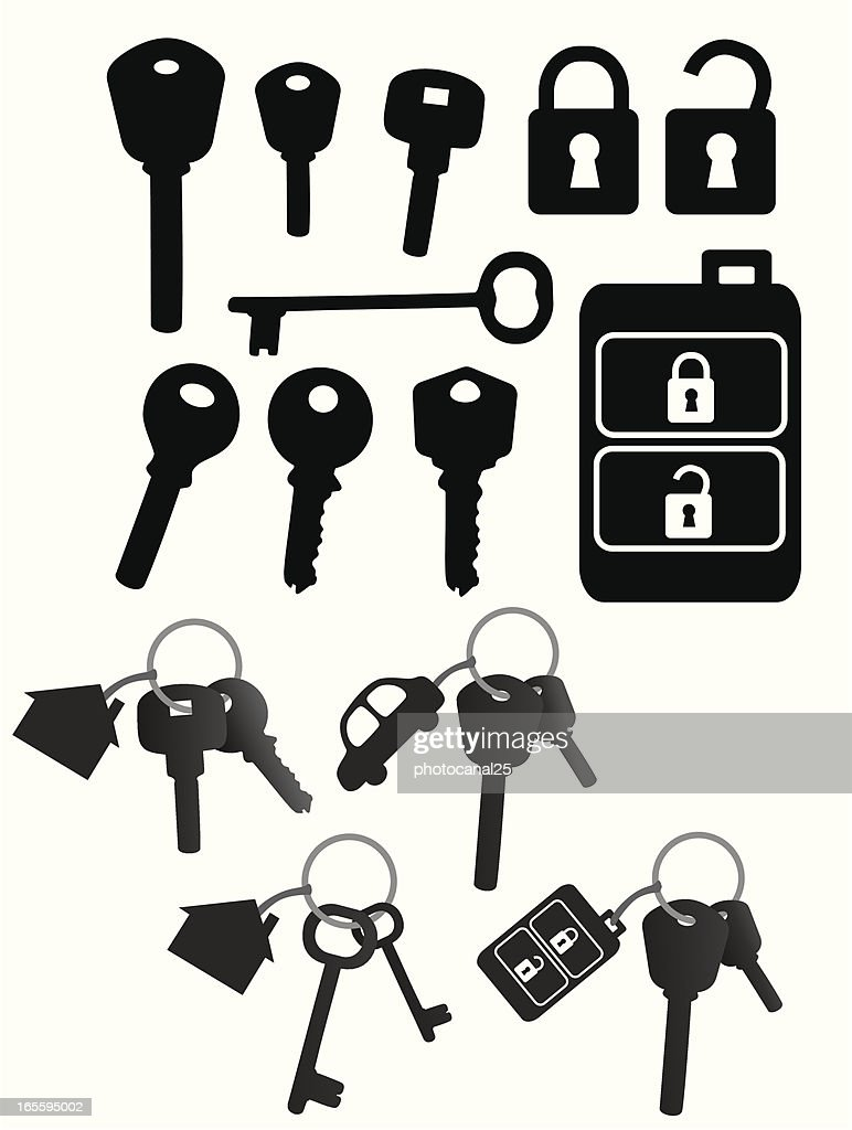 Vector black icons of keys, locks, and key chains on white