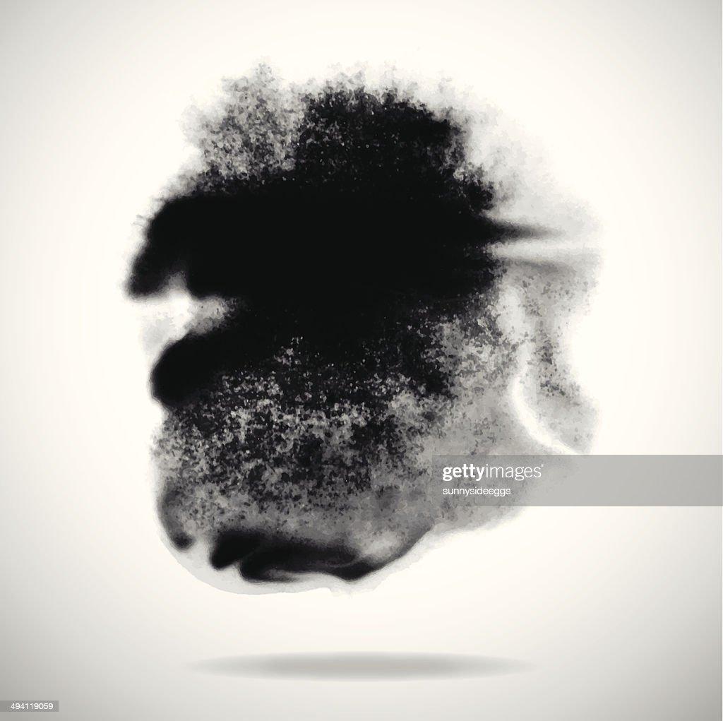 vector black ink splashes on white background