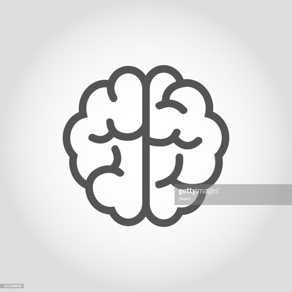 Vector black line brain icon.