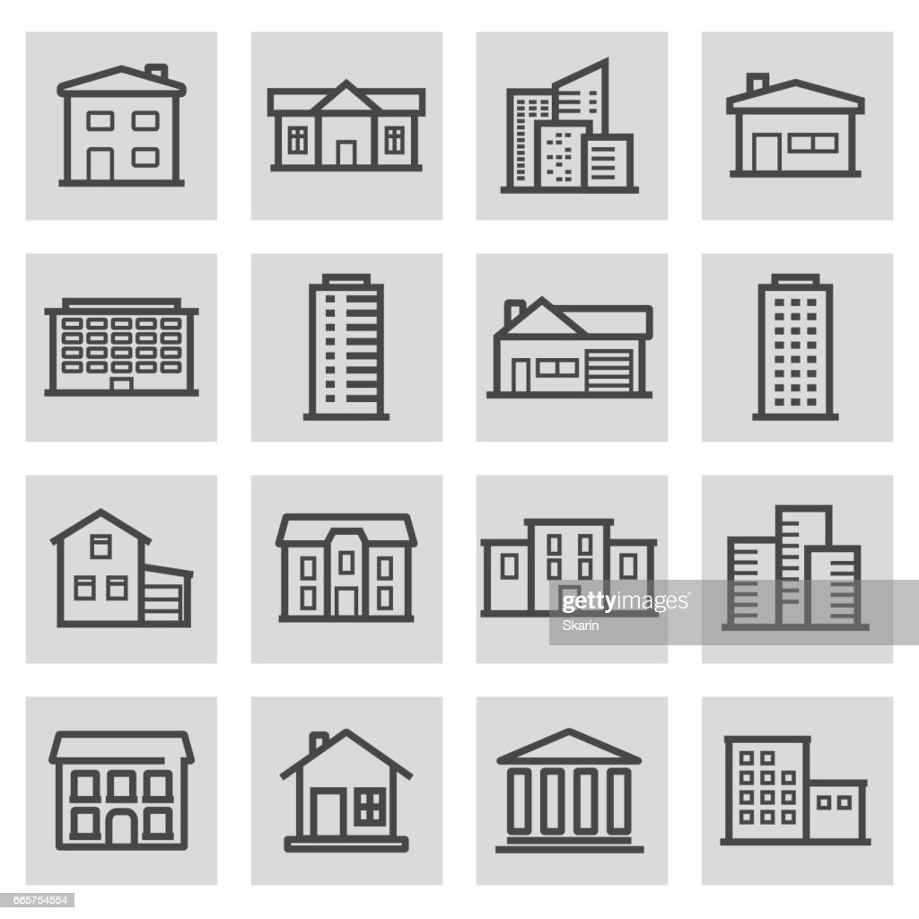 Vector black line building icons set