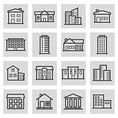 Vector black line building icons set