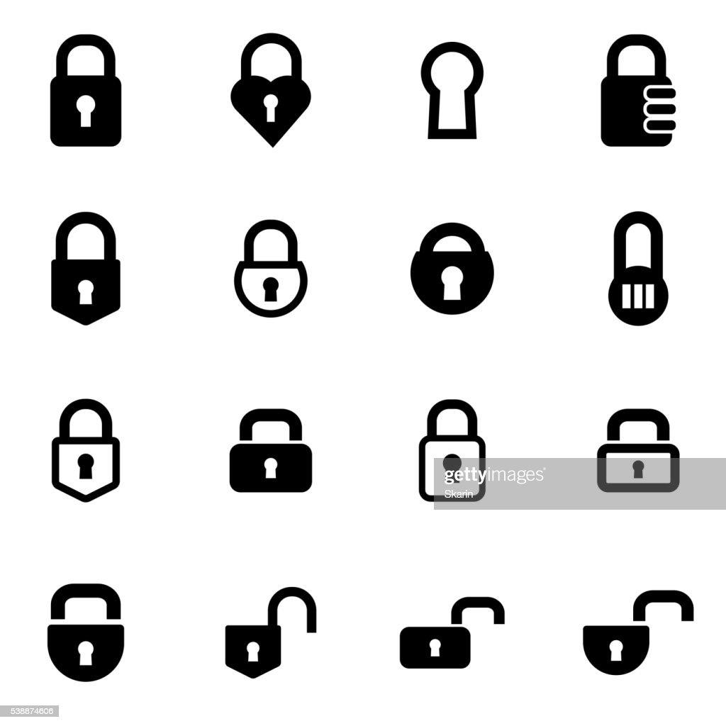 Vector black locks icon set