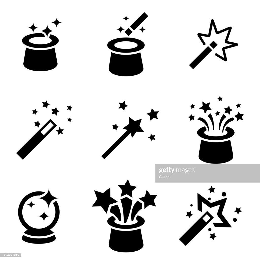 Vector black magic icons set.
