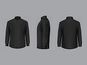 3D vector black male shirt with long sleeves