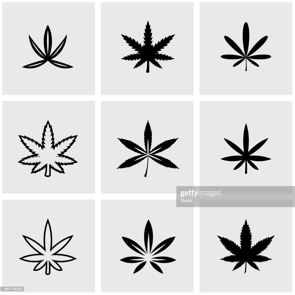 Vector black marijuana icon set