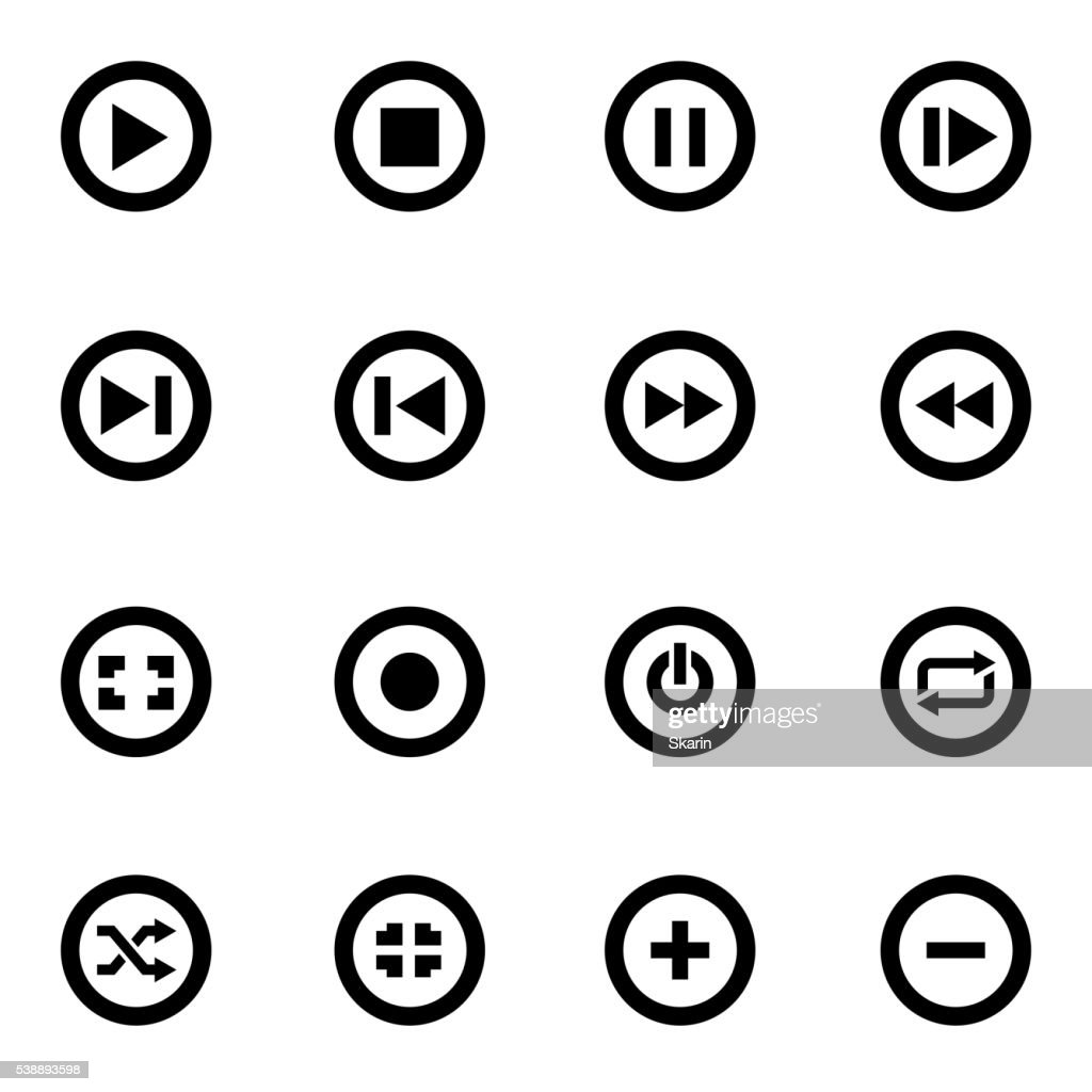 Vector black media buttons icon set