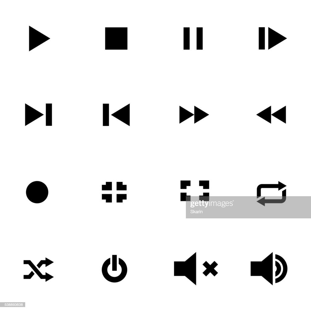 Vector black media player icon set