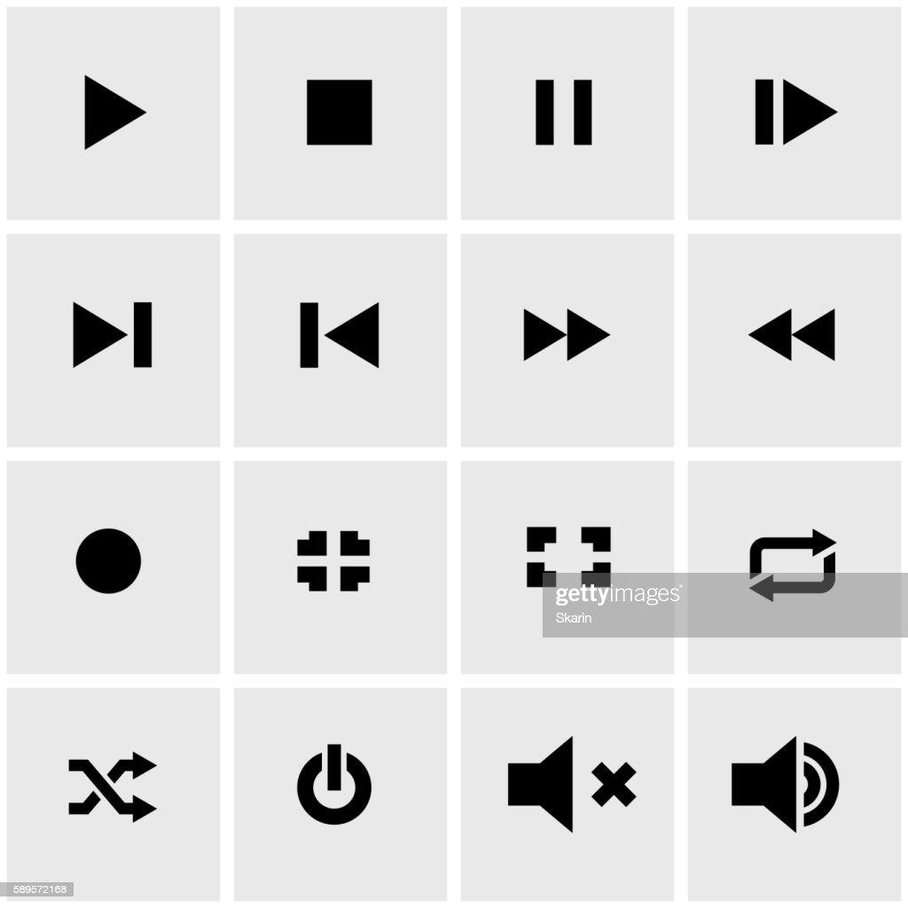 Vector black media player icon set