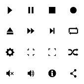 Vector black media player icons set