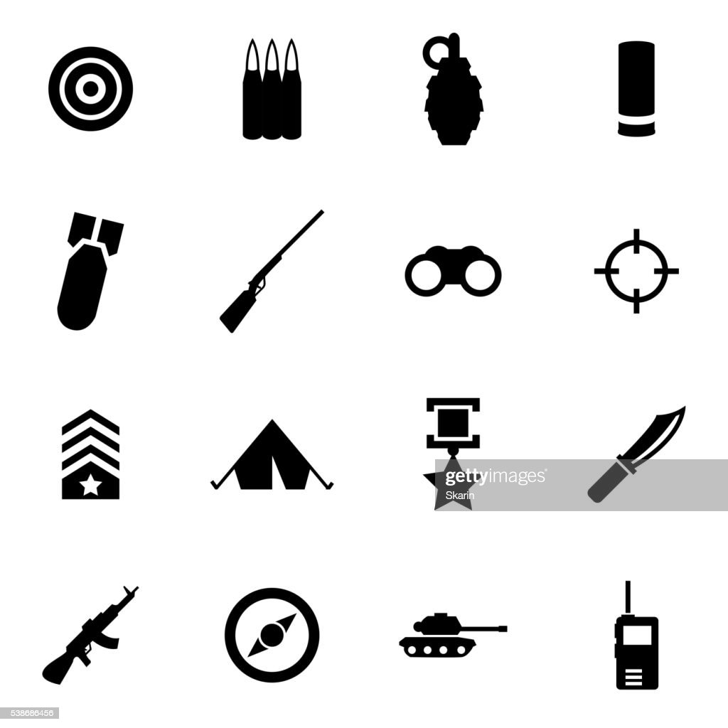Vector black military icon set