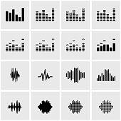 Vector black music soundwave icon set