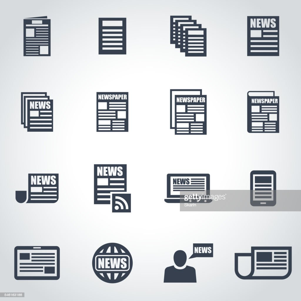 Vector black newspaper icon set