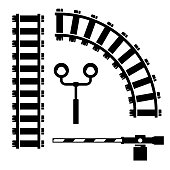 Vector black  objects for rail road icons set