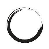 Vector black paint brush circle stroke. Abstract japanese style hand drawn black ink circle