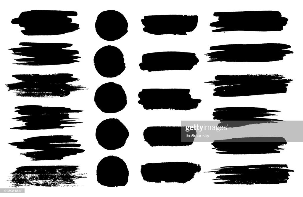 Vector black paint brush spots, highlighter lines or felt-tip pen marker horizontal blobs. Marker pen or brushstrokes and dashes. Ink smudge abstract shape stains and smear set with texture