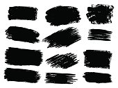 Vector black paint, ink brush stroke, brush, line or texture. Dirty artistic design element, box, frame or background