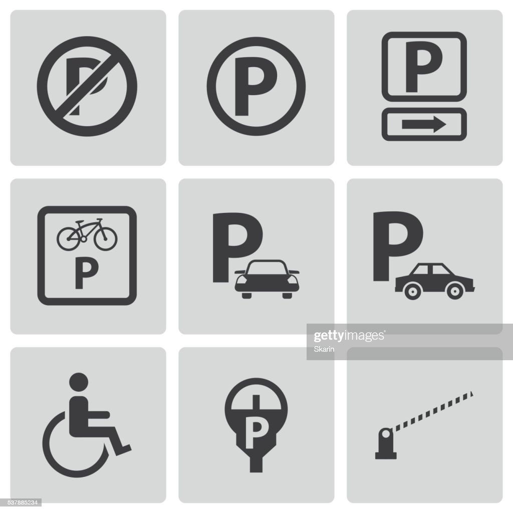 Vector black parking icons set