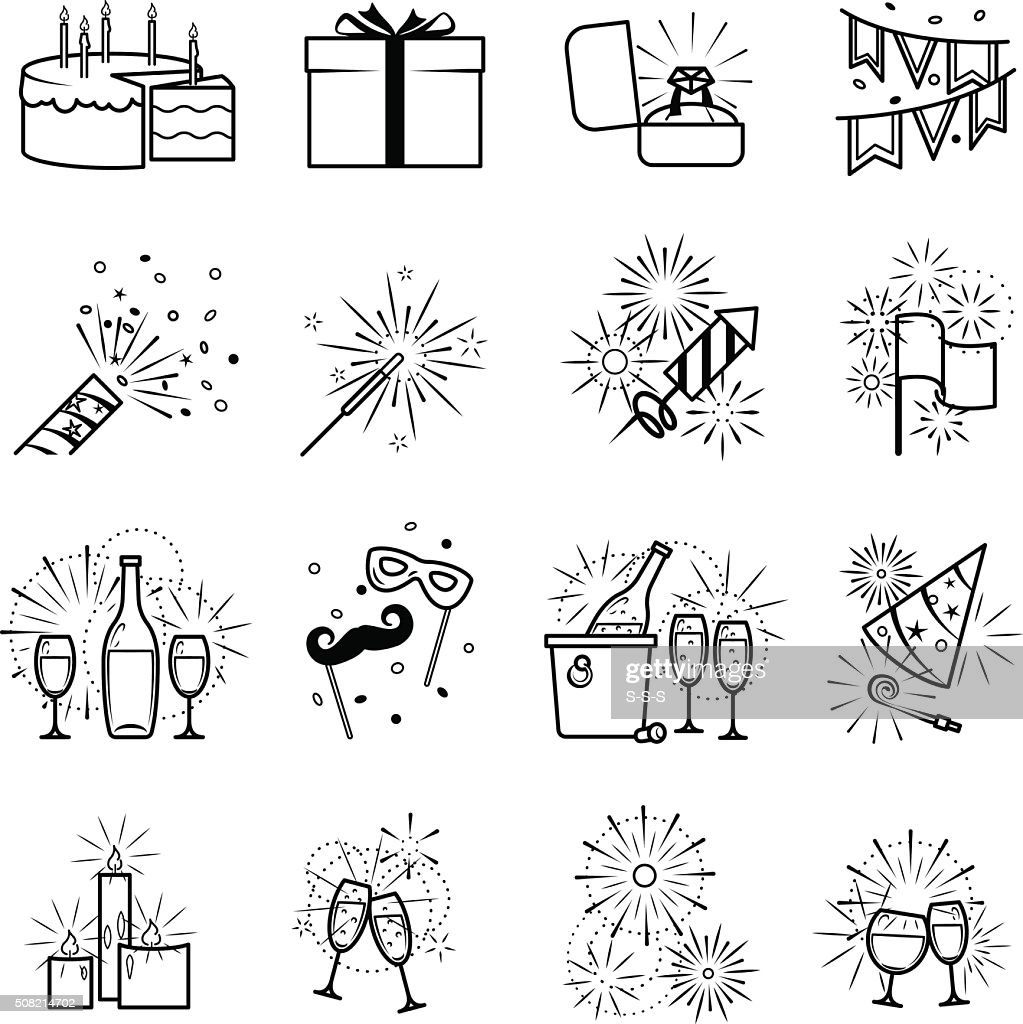 Vector black party icons