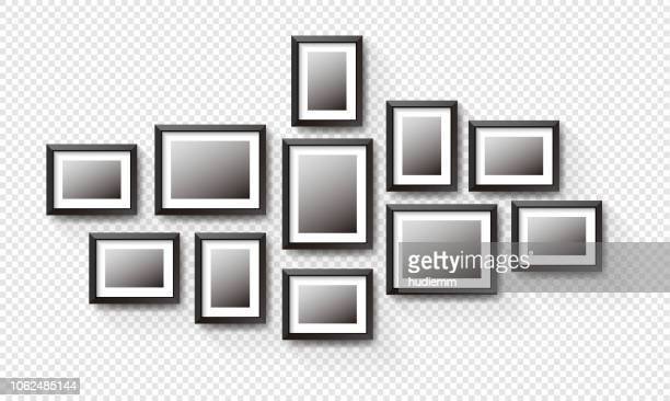 vector black picture frame set isolated on white background - arrangement stock illustrations