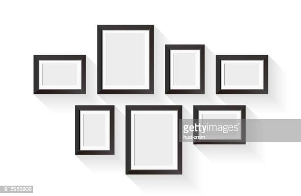 Vector black picture frame set isolated on white background