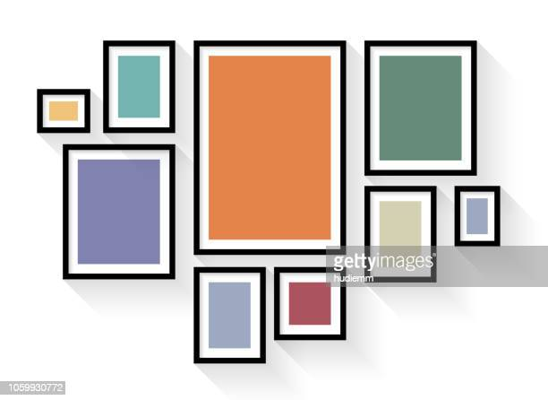 illustrazioni stock, clip art, cartoni animati e icone di tendenza di vector black picture frame set on wall background - collezione